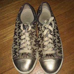 🗝🔓⚜️MICHAEL KORS⚜️⌛️Gold and Tan Sneakers  9 1/2